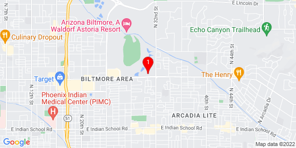 Google Map of 3104 E Camelback Rd, Phoenix, AZ 85016, USA