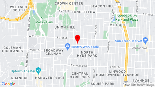 Google Map of 3119 Gillham Road, Kansas City, MO 64109
