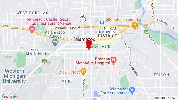 Google Map of 314 S. Park Street, Kalamazoo, MI 49007