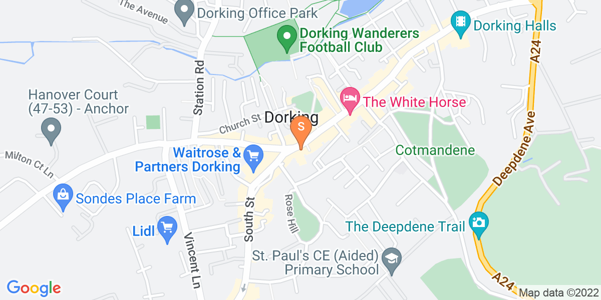 Google Map of 32-38 High Street Dorking RH4 1AY
