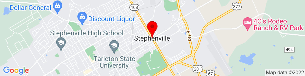 Google Map of 32.22083333333334, -98.20222222222222