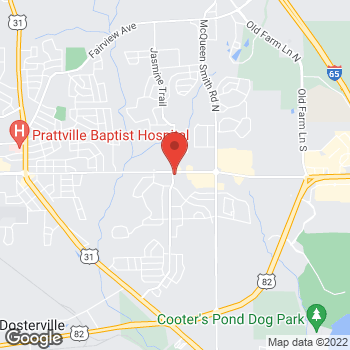 Map of Arby's at 1700 E Main St, Prattville, AL 36066-5582