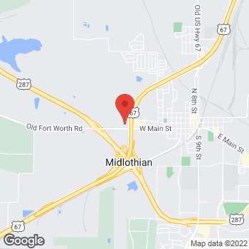 Map of Arby's at 1501 N Hwy 287, Midlothian, TX 76065