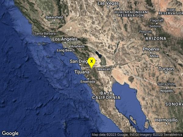 earthquake 17km SE of Campo, CA
