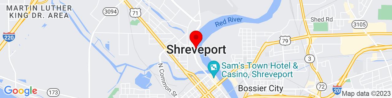 Google Map of 32.525277777777774, -93.75027777777778
