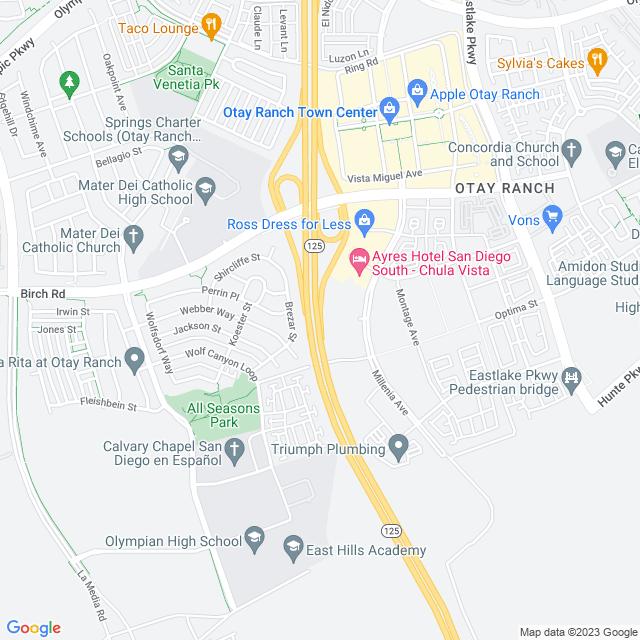 Map of Toll Road | SR-125 Birch Rd NB Off