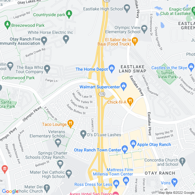 Map of Toll Road | SR-125 Southbay Expressway Olymp Pkwy SB On