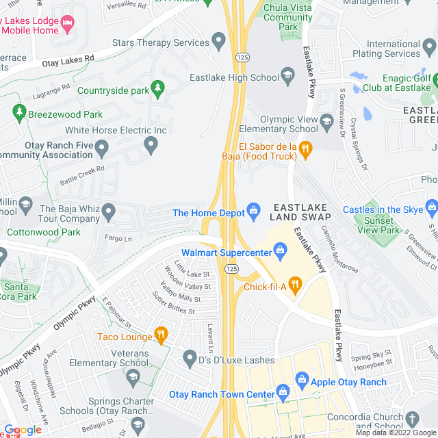 Map of Olymp Pkwy SB On
