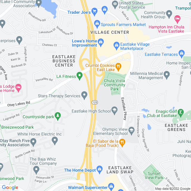 Map of Toll Road | SR-125 Southbay Expressway Otay Lks Rd NB Off