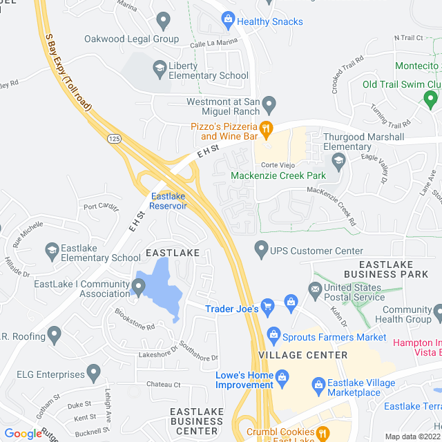 Map of Toll Road | SR-125 East H NB Off