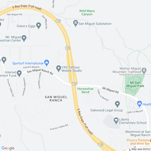 Map of Toll Road | SR-125 Southbay Expressway San Miguel Rch NB On