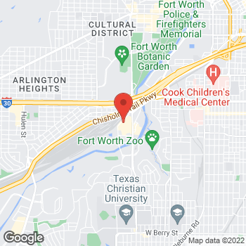 Map of Sunglass Hut at 1600 S University Dr, Fort Worth, TX 76107