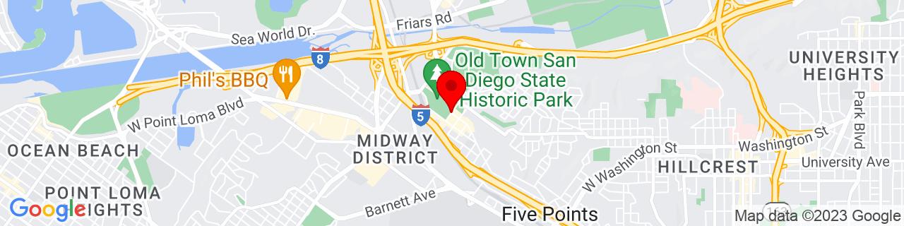 Google Map of 32.7533543, -117.195849