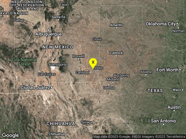 earthquake 22 km SSW of Lovington, New Mexico