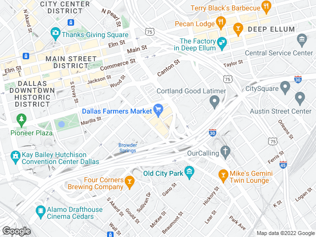 Static map image show location of Dallas Farmers Market