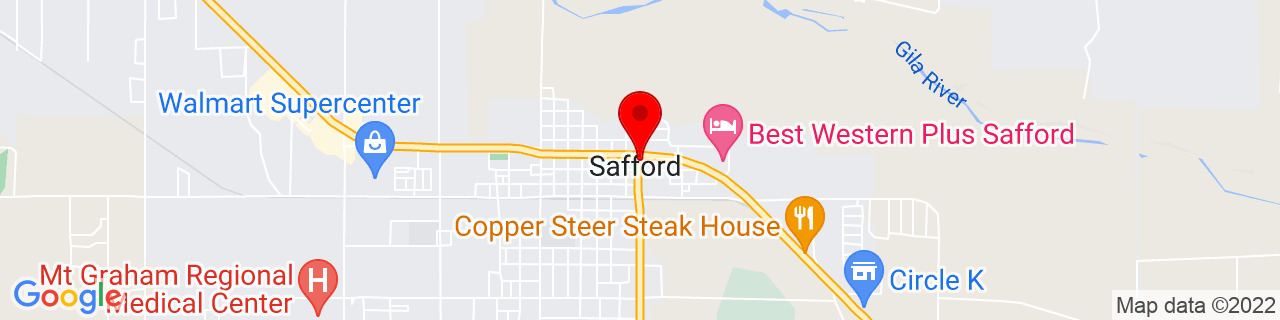 Google Map of 32.8339546, -109.70758