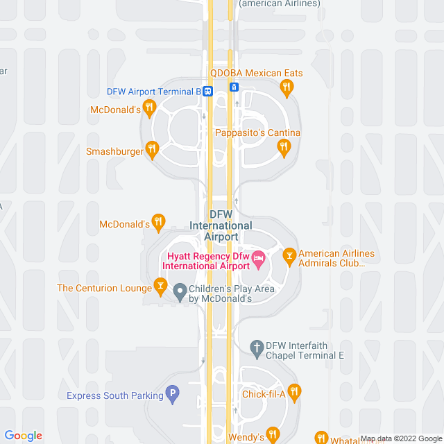 Map of Dallas Ft Worth Airport Connector