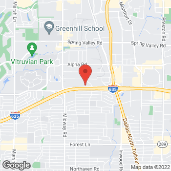 Map of Guitar Center Lessons at 4519 Lyndon B Johnson Freeway, Farmers Branch, TX 75244