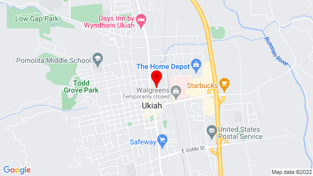 Google Map of 323 N. Main Street, Ukiah, CA 95482