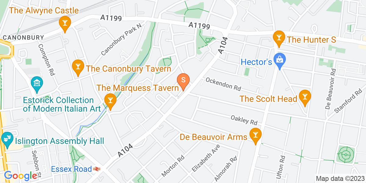 Google Map of 325 Essex Road London N1 2YG