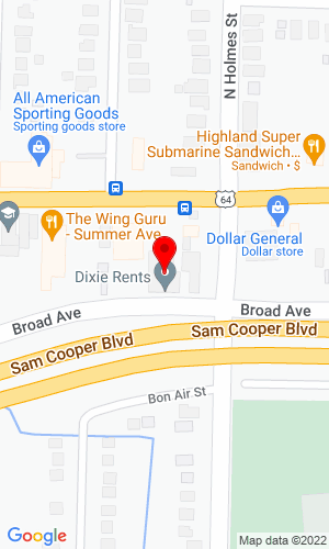Google Map of Dixie Rents, Inc. 3271 Summer Ave., Memphis, TN, 38112
