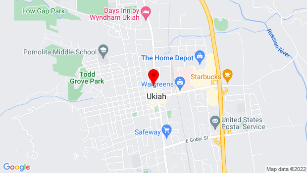 Google Map of 328 N State st, Ukiah, CA 95482
