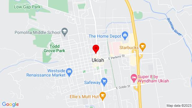 Google Map of 328 N State st, Ukiah, CA 95482