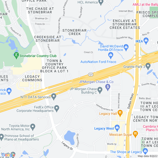 Map of Sam Rayburn Tollway