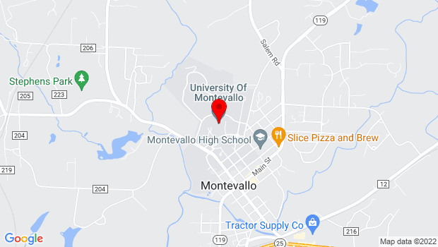 Google Map of University of Montevallo, Montevallo, AL 35115