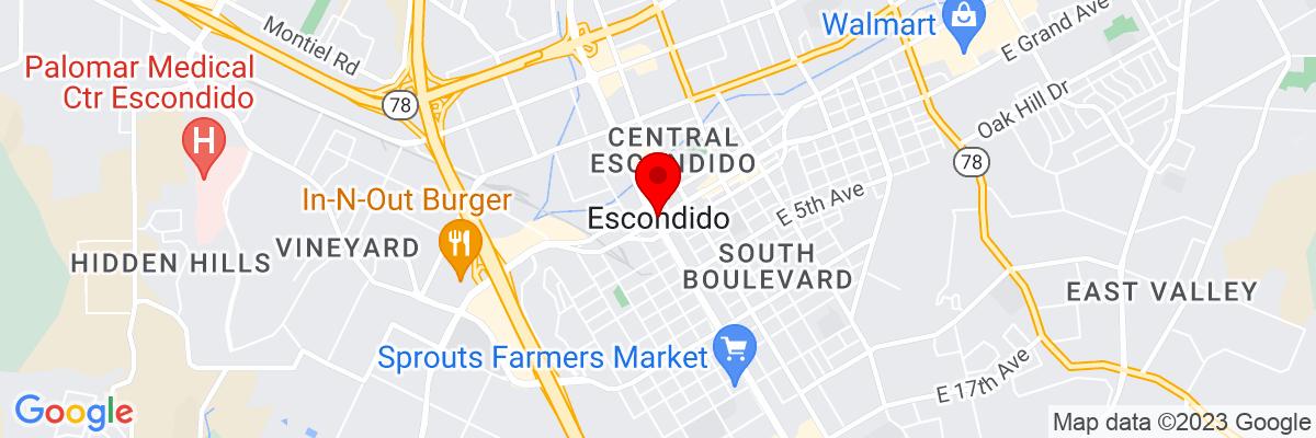 Google Map of 33.119206666667,-117.08642111111