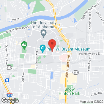 Map of Arby's at 211 University Blvd E, Tuscaloosa, AL 35401-2017