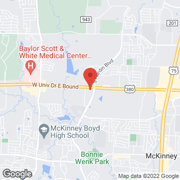 Map of Panera Bread at 3755 W University Dr, McKinney, TX 75071