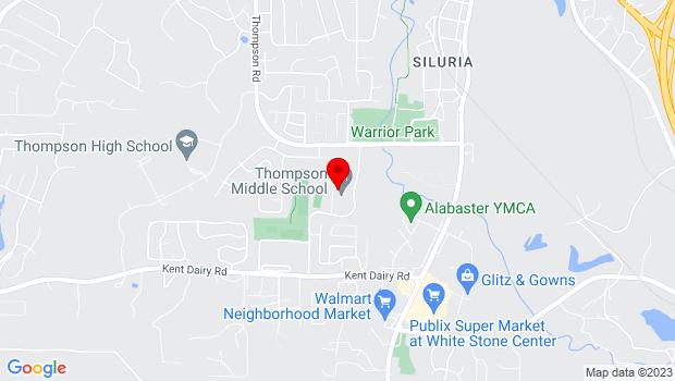 Google Map of 100 Warrior Drive, Alabaster, AL 35007