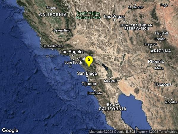 earthquake 7km SE of Pala, CA