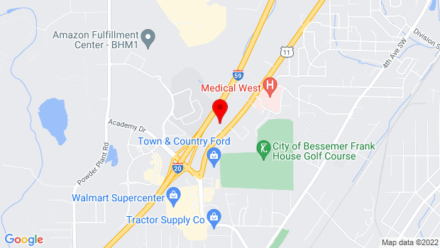 Google Map of 1130 9th Avenue SW, Bessemer, AL 35022