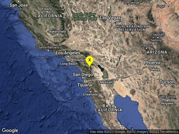 earthquake 12km NNW of Warner Springs, CA