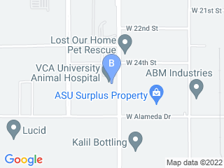 Map of University Animal Hospital Dog Boarding options in Tempe | Boarding