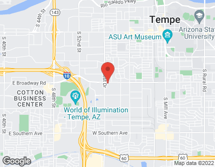 Map of 1343 W. Broadway in Tempe