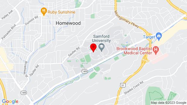Google Map of Samford University, Birmingham, AL 35229