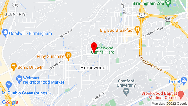 Google Map of 1604 Oxmoor Road, Homewood, AL 35209-3910