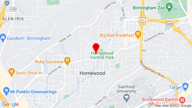 Google Map of 1632 Oxmoor Road, Homewood, AL 35209