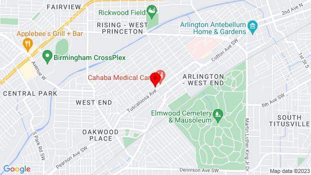 Google Map of 1348 Tuscaloosa Ave SW , Birmingham, Alabama 35211