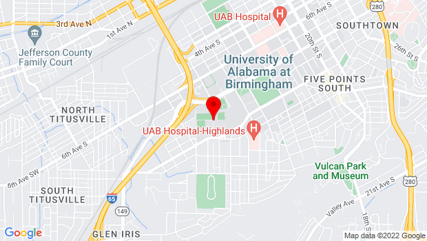 Google Map of 900 11th Street S, Birmingham, AL 35205