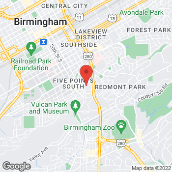 Map of Peachtree Planning at 2151 Highland Ave, Birmingham, AL 35205