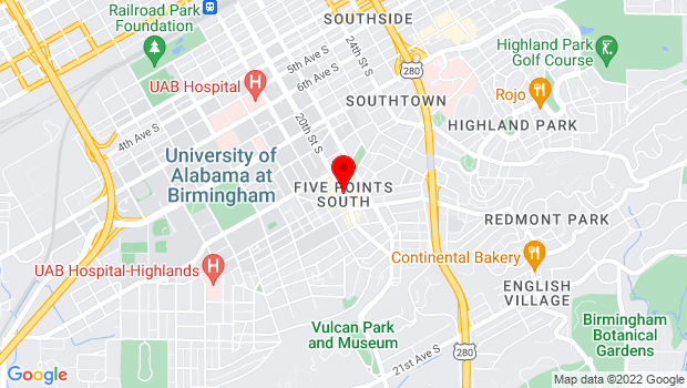 Google Map of 20th Street South and 11th Avenue, Birmingham, AL 35205