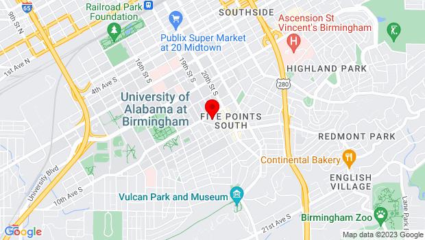 Google Map of 1006 19th Street South, Birmingham, AL 35205