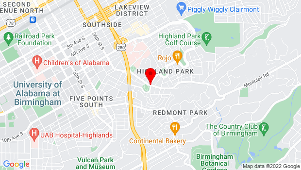 Google Map of 26th Street South and Highland Avenue, Birmingham, AL 35205