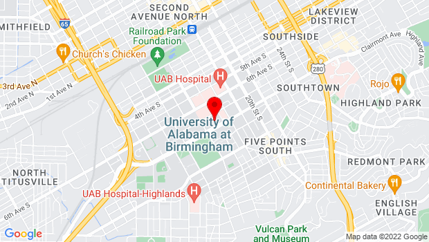 Google Map of 1400 University Blvd Birmingham, AL 35233, Birmingham, AL 35233