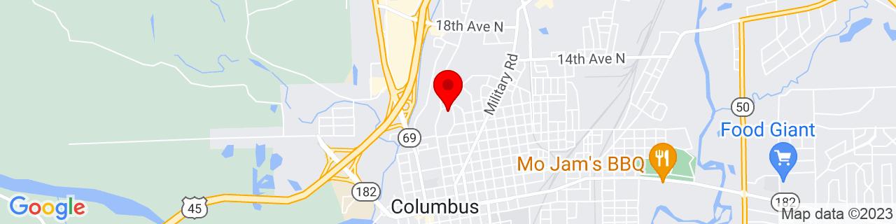 Google Map of 33.505336, -88.42570599999999