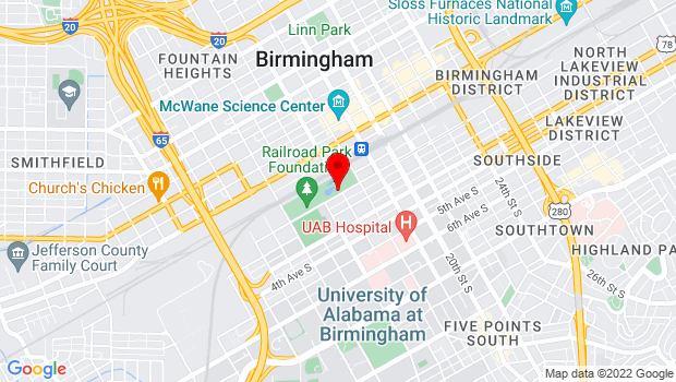Google Map of 1600 1st Ave S, Birmingham, AL 35233